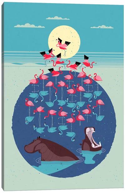 Flamingo Lake Canvas Art Print