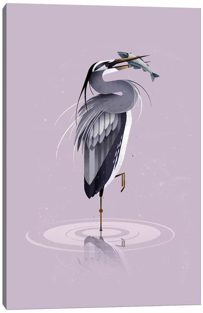 Grey Heron Canvas Art Print