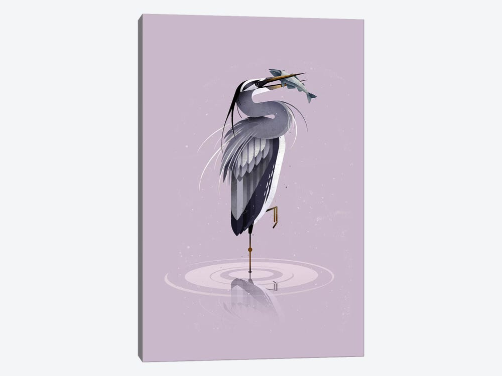 Grey Heron 1-piece Canvas Wall Art