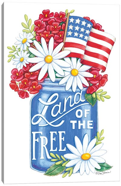 Land of the Free Blue Mason Jar Canvas Art Print