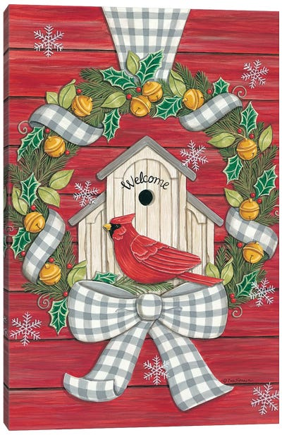 Farmhouse Christmas Wreath with Cardinal Canvas Art Print