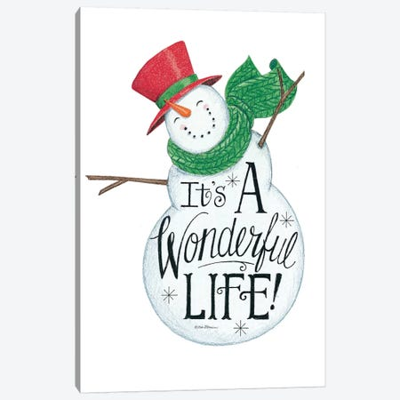 It's a Wonderful Life Snowman Canvas Print #DBS14} by Deb Strain Art Print
