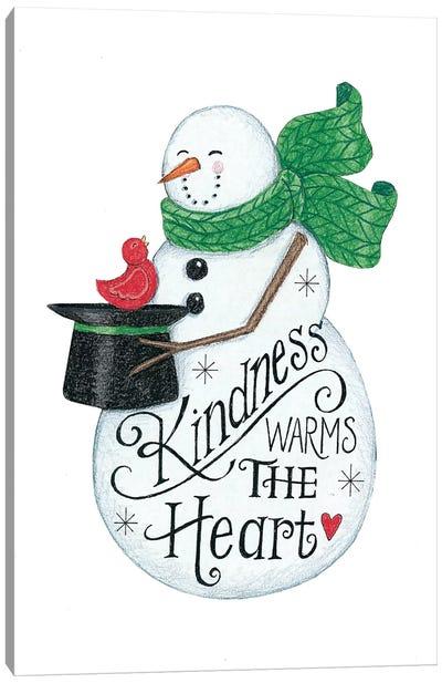 Kindness Warms the Heart Snowman Canvas Art Print
