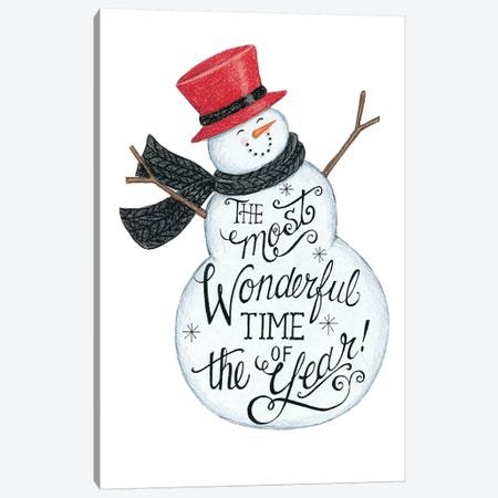 Wonderful Time Snowman Canvas Print #DBS17} by Deb Strain Canvas Art Print