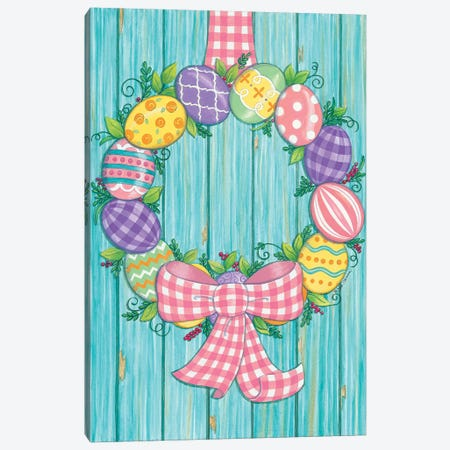 Easter Egg Wreath Canvas Print #DBS18} by Deb Strain Canvas Wall Art