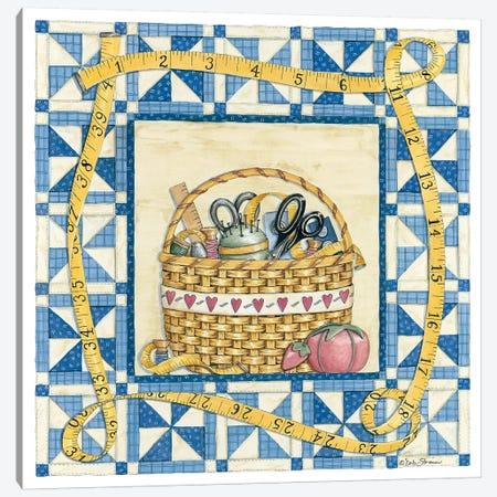 Quilt Basket 3-Piece Canvas #DBS22} by Deb Strain Canvas Art Print