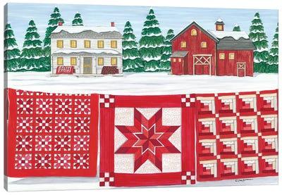 Red & White Quilt Farm Canvas Art Print