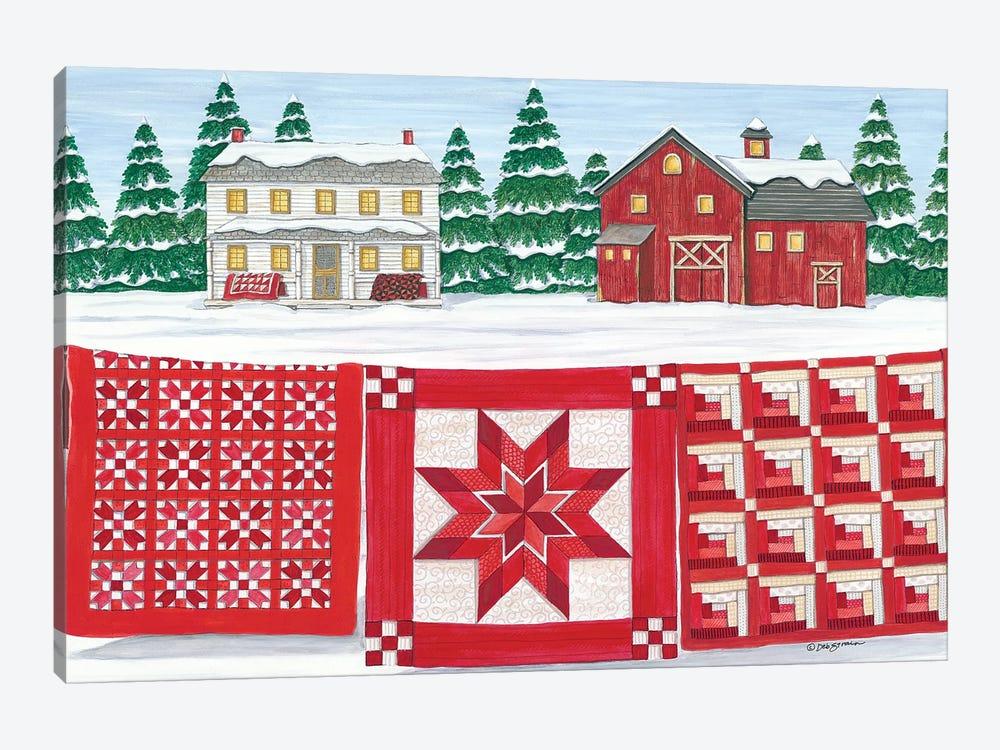 Red & White Quilt Farm by Deb Strain 1-piece Canvas Artwork