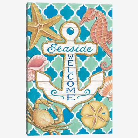 Seaside Welcome Anchor Canvas Print #DBS45} by Deb Strain Canvas Wall Art