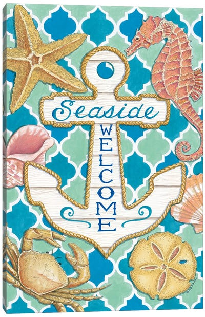 Seaside Welcome Anchor Canvas Art Print