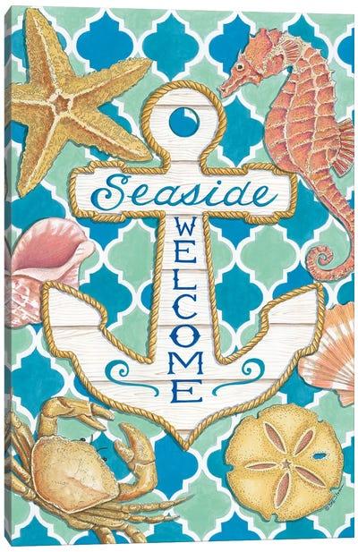 Seaside Welcome Anchor Canvas Art Print