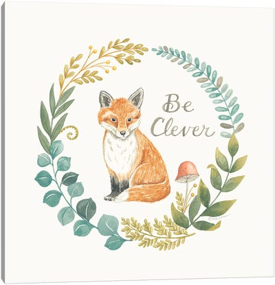 Be Clever Fox Canvas Art Print