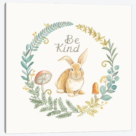 Be Kind Rabbit Canvas Print #DBS52} by Deb Strain Canvas Art