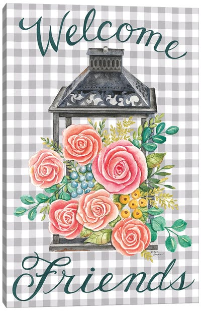 Lantern with Roses Canvas Art Print