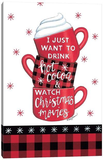 Hot Cocoa & Christmas Movies Canvas Art Print