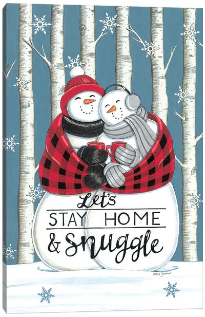 Let's Stay Home & Snuggle Canvas Art Print