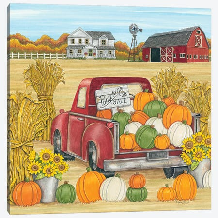 Pumpkins for Sale Red Truck Farm Canvas Print #DBS6} by Deb Strain Art Print