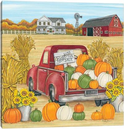 Pumpkins for Sale Red Truck Farm Canvas Art Print