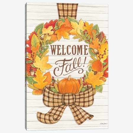 Welcome Fall Wreath Canvas Print #DBS7} by Deb Strain Canvas Print