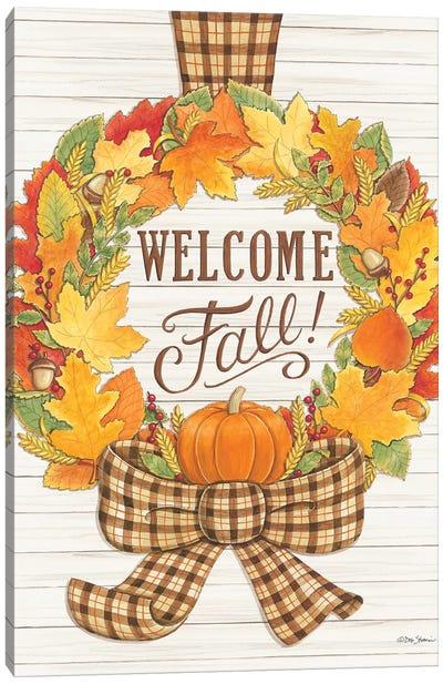 Welcome Fall Wreath Canvas Art Print