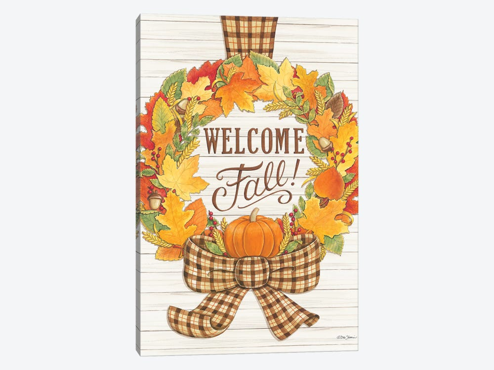 Welcome Fall Wreath by Deb Strain 1-piece Canvas Art