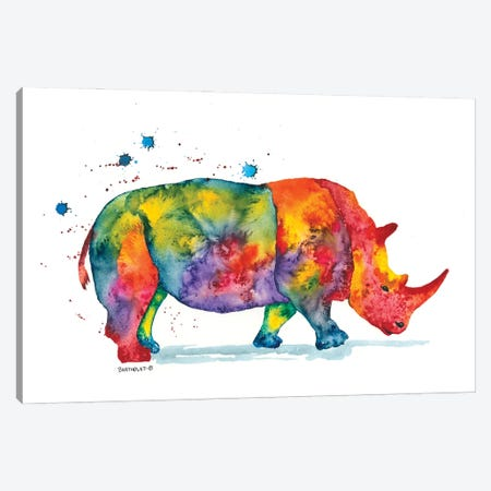 Rainbow Rhino Canvas Print #DBT10} by Dave Bartholet Art Print