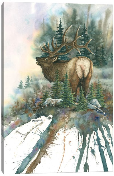 Christmas Tree Bull Canvas Art Print