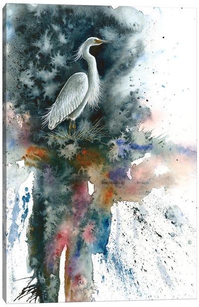 Misty Egret Canvas Art Print