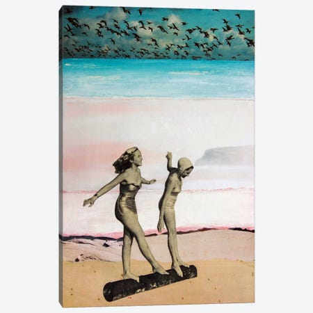 Beach Girls 3-Piece Canvas #DBW41} by DB Waterman Art Print