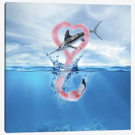 Flamingo Fish Canvas Print #DBY11} by Dmitry Biryukov Canvas Wall Art