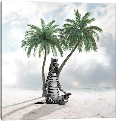 Zebra Under A Palm Tree Canvas Art Print