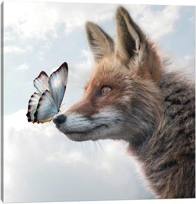 Fox Of Butterflies Canvas Art Print