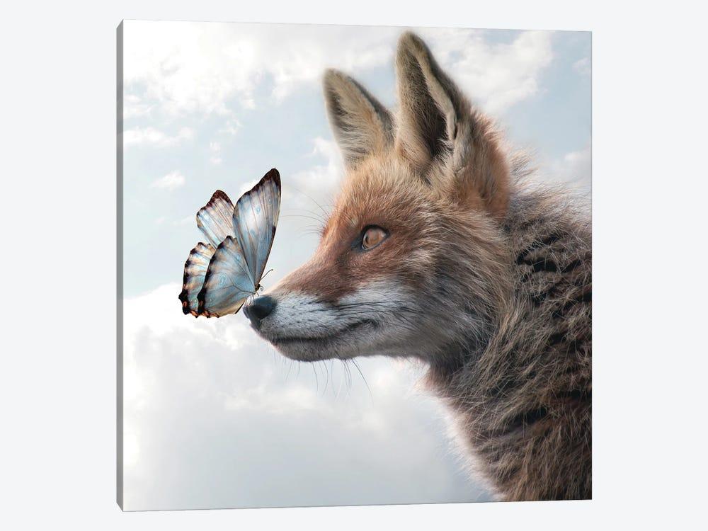 Fox Of Butterflies by Dmitry Biryukov 1-piece Canvas Art Print