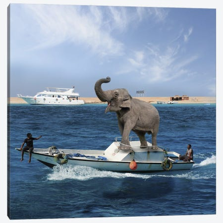 Elephant On A Boat Canvas Print #DBY20} by Dmitry Biryukov Art Print