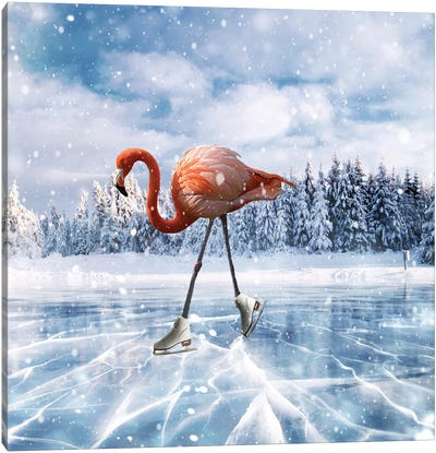 Flamingos On Ice Canvas Art Print