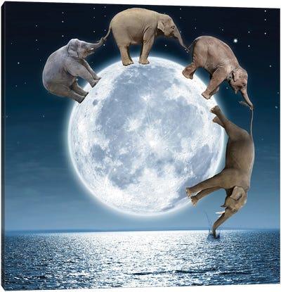 Elephants On The Moon Canvas Art Print