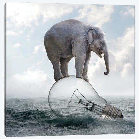 Elephant On Light Bulbs Canvas Print #DBY2} by Dmitry Biryukov Canvas Artwork