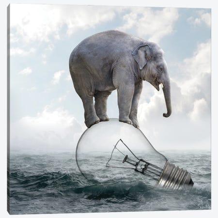 Elephant On Light Bulbs Canvas Print #DBY2} by Dmitry Biryukov Canvas Artwork