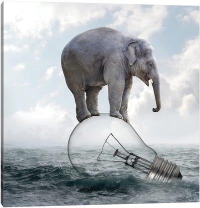 Elephant On Light Bulbs Canvas Art Print