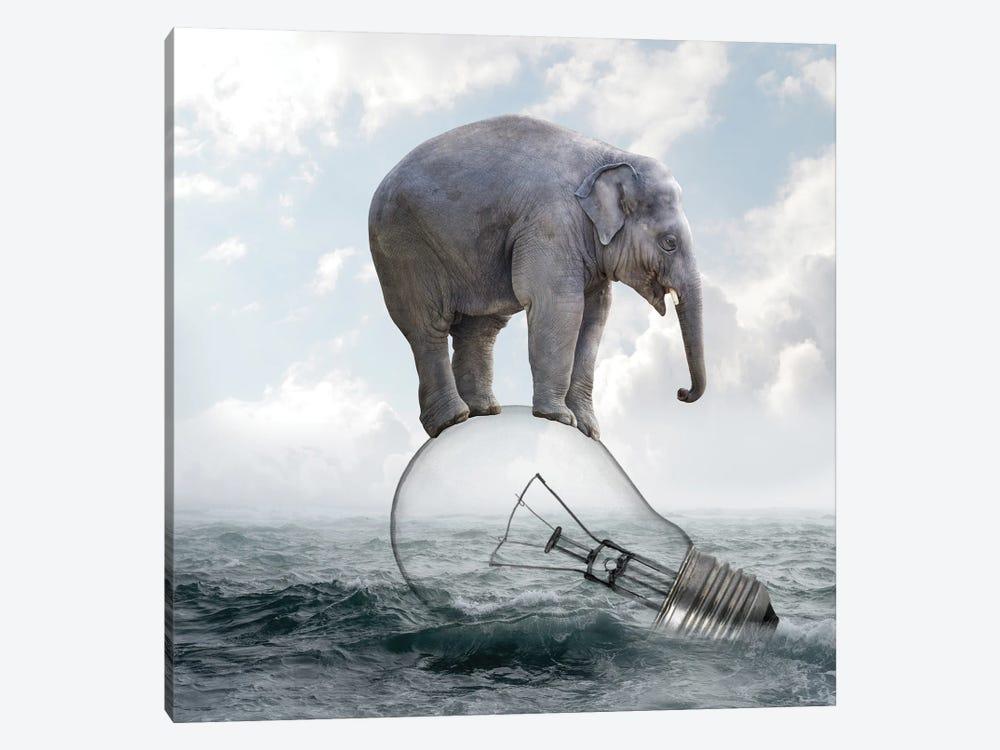 Elephant On Light Bulbs by Dmitry Biryukov 1-piece Canvas Art Print