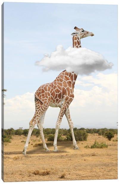 Giraffe In The Clouds Canvas Art Print