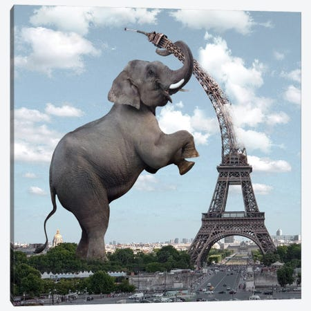 The Elephant And The Eiffel Tower Canvas Print #DBY7} by Dmitry Biryukov Canvas Art Print