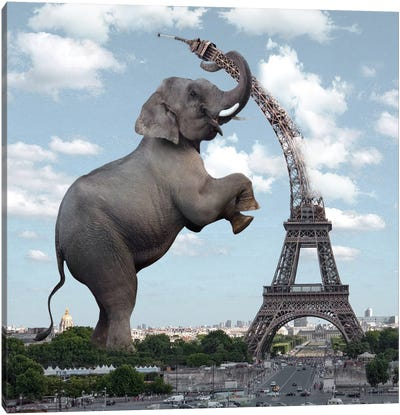 The Elephant And The Eiffel Tower Canvas Art Print