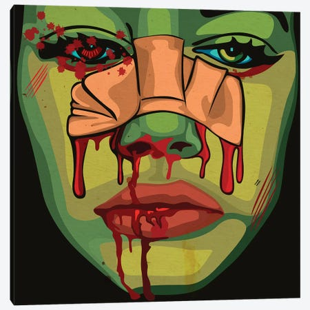 Bloody Girl Canvas Print #DCA110} by Dai Chris Art Canvas Wall Art