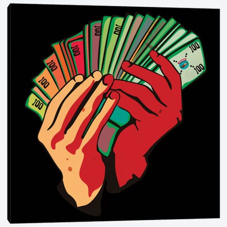 Money Hands Canvas Print #DCA118} by Dai Chris Art Canvas Artwork