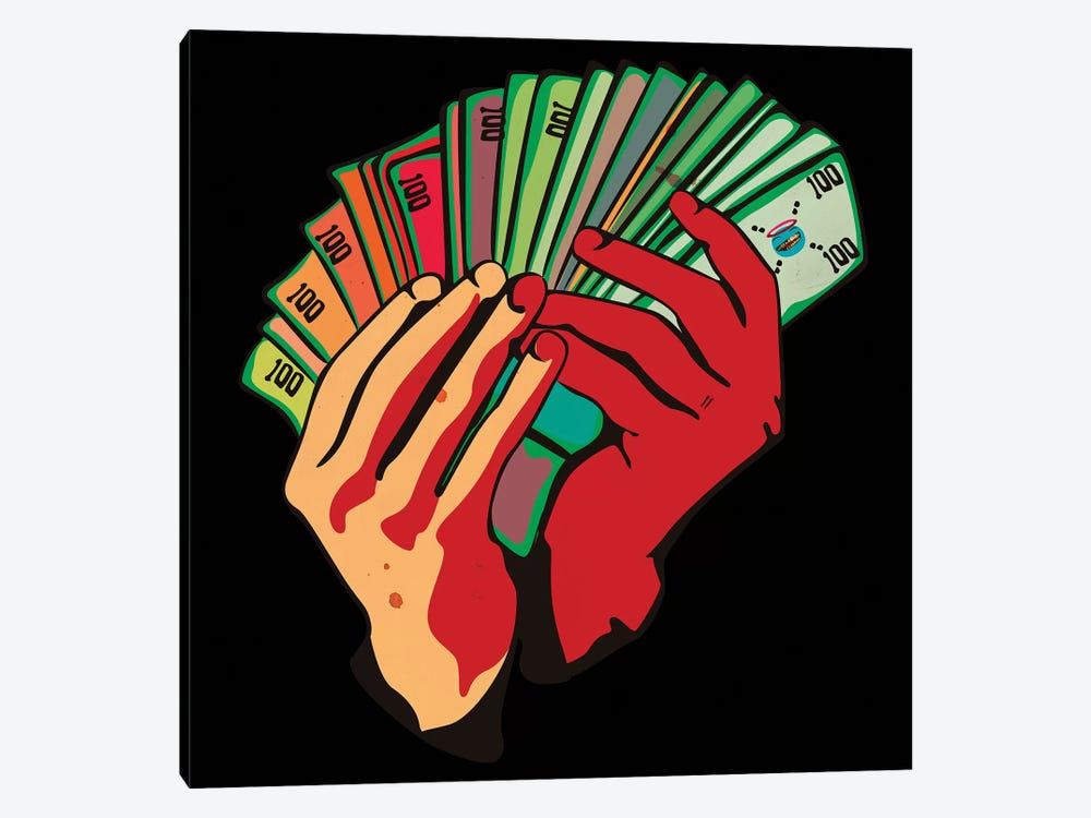 Money Hands by Dai Chris Art 1-piece Canvas Wall Art