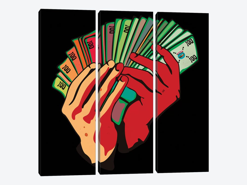 Money Hands by Dai Chris Art 3-piece Canvas Art