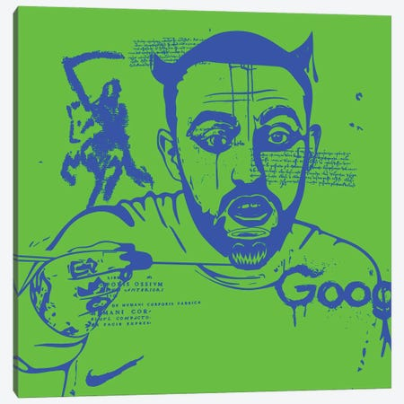 Mac Blue On Green 2020 Canvas Print #DCA213} by Dai Chris Art Canvas Art Print