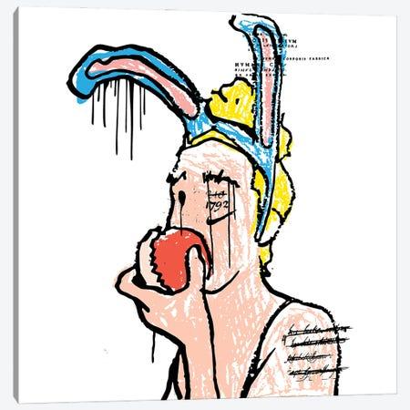 Bunny Eating Apple Canvas Print #DCA217} by Dai Chris Art Canvas Wall Art