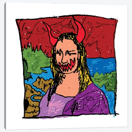 Mona Lisa Spook Canvas Print #DCA219} by Dai Chris Art Canvas Art Print